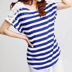 Dream Girl - Short Sleeved Lace Panel Striped T-shirt