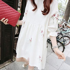 lilygirl - Floral Embroidered Tunic Dress