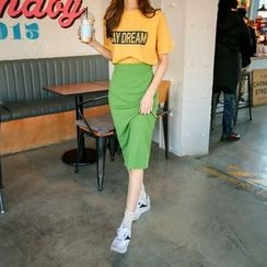 Seoul Fashion - Colored Ribbed Knit Skirt