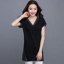 Eloqueen - Short-Sleeve Striped Long Top
