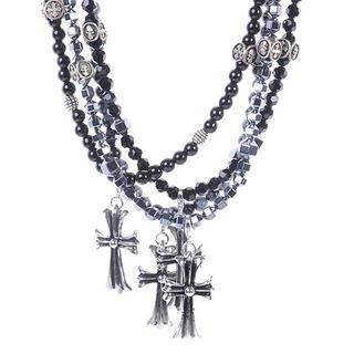 deepstyle - Beaded Cross Pendant Necklace
