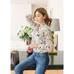 J-ANN - Tie-Neck Floral-Pattern Chiffon Blouse