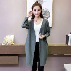 Bloombloom - Plain V-Neck Long Coat