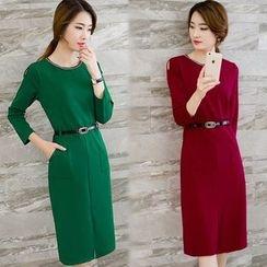 ESODO - Long-Sleeve Plain Sheath Dress