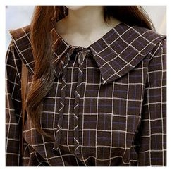 Sechuna - Bell-Sleeve Tie-Front Plaid Top