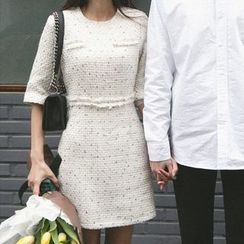 Seoul Fashion - A-Line Tweed Dress