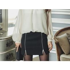 UUZONE - Slit-Hem Contrast-Trim Mini Skirt