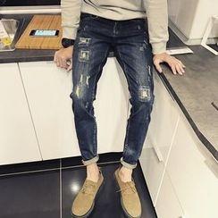 SIRIUS - Distressed Straight Jeans
