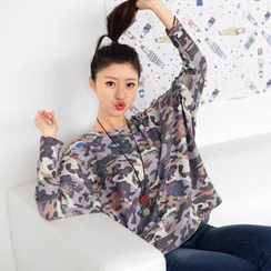59 Seconds - Camouflage Batwing-Sleeve Top