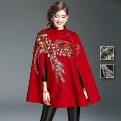 Y:Q - Embroidered Wool Blend Cape Coat