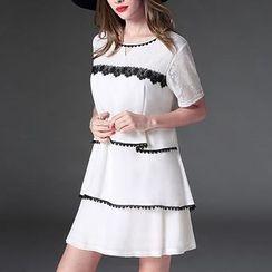 Mythmax - Lace-Panel Chiffon Dress