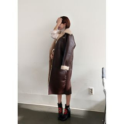 ssongbyssong - Zip-Up Long Faux-Shearling Coat