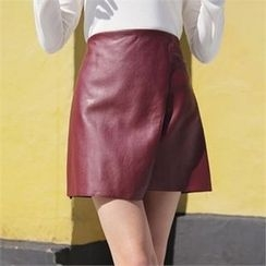 QNIGIRLS - Faux-Leather Mini Skirt