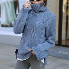 CHICFOX - Turtle-Neck Cable-Knit Sweater
