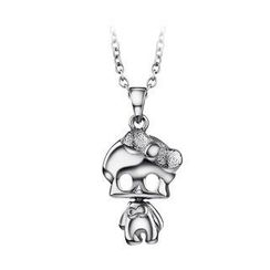 BELEC - Halloween Lovely 925 Sterling Silver Skeletons Pendant with Necklace