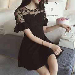 Ashlee - Short-Sleeve Lace Panel A-Line Dress