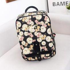 Bibiba - Floral Print Canvas Backpack