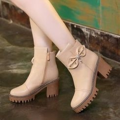 Pastel Pairs - Bow Chunky Heel Platform Short Boots