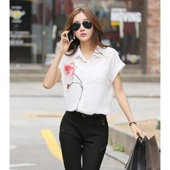 KOKA - Rose Print Short-Sleeve Chiffon Shirt