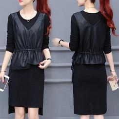 Lavogo - Set: Long-Sleeve Knit Dress + Faux Leather Peplum Top