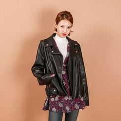 Seoul Fashion - Diagonal-Zip Faux-Leather Biker Jacket