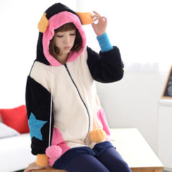 59 Seconds - Ear-Accent Furry Knit Hoodie