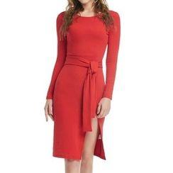 丽贝卡 - 纯色长袖连衣裙