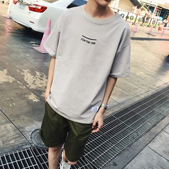 uninukoo - Lettering Drop Shoulder T-Shirt