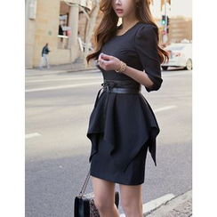 GUMZZI - 3/4-Sleeve Peplum Mini Dress