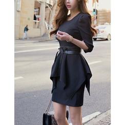 GUMZZI - 3/4-Sleeve Peplum Mini Dress