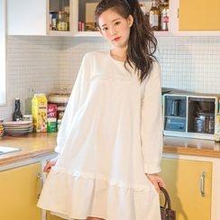 chuu - Frill-Trim Loose-Fit Cotton Dress