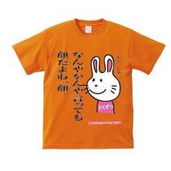 A.H.O Laborator - Funny Japanese T-shirt Invective Rabbit 'Face is the most important, right?'