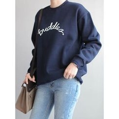 STYLEBYYAM - Lettering-Appliqué Brushed Fleece Pullover
