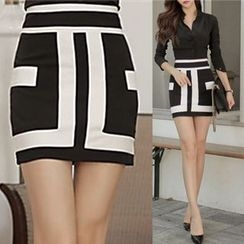 Gl.bY - Two Tone Pencil Skirt