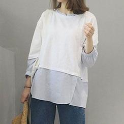 YOSH - Long-Sleeve Color Block T-Shirt