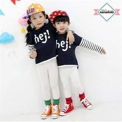 nanakids - Kids Striped-Sleeve Lettering T-Shirt