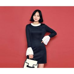 HOTPING - Bell-Sleeve Contrast-Trim Dress