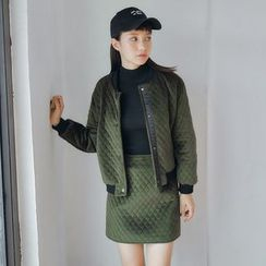 AC - Set: Argyle Velvet Baseball Jacket + Skirt