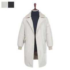 DANGOON - Fleece-Collar Snap-Button Padded Coat