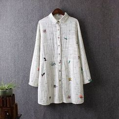 Blue Rose - Long-Sleeve Linen Long Shirt