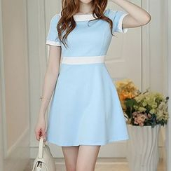 Q.C.T - Short-Sleeve A-Line Dress