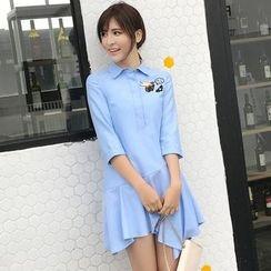 Rosesong - 不对称刺绣衬衫连衣裙