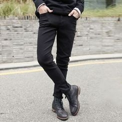 TOMONARI - Brushed-Fleece Lined Slim-Fit Chino Pants