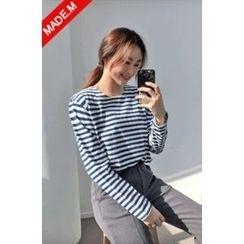 MICHYEORA - Round-Neck Striped T-Shirt