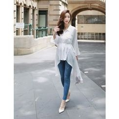 GUMZZI - Dip-Back Chiffon Long Shirt