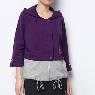 Contrast-Hem Hooded Jacket