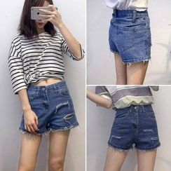 CosmoCorner - Ripped Denim Shorts