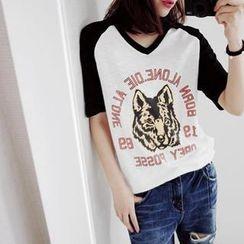 NIPONJJUYA - Wolf Print Short-Sleeve T-Shirt