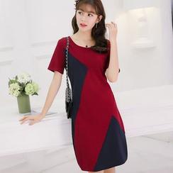 Nyssa - 拼色短袖连衣裙