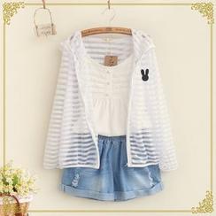 布衣天使 - 小兔刺繡條紋連帽薄夾克